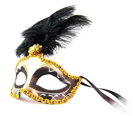 Venetian Masquerade Costume Fancy Dress Mask in Black, Gold and Silver