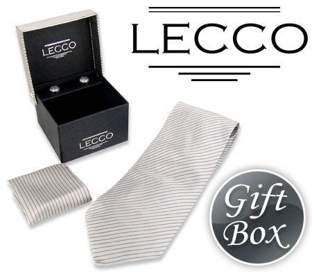 LECCO Silk Tie, Cufflink and Handkerchief Gift Box Set -TS06 - Grey Striped