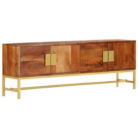 TV Cabinet 140x30x50 cm Solid Acacia Wood   Crazy Sales