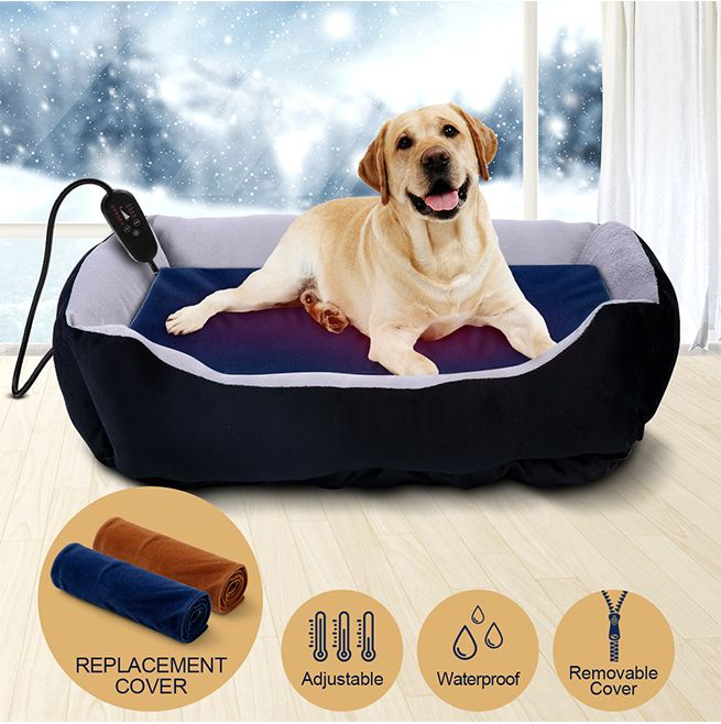 Petscene XL Pet Heating Pad Heated Cat Dog Bed Electric Pet Heating Mat with Thermal Protection 90x60CM