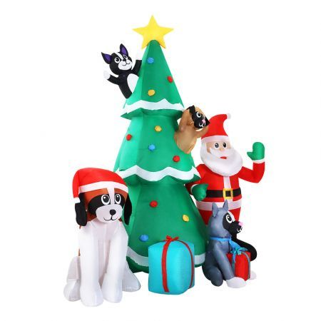 Jingle Jollys 3M Inflatable Christmas Tree Santa Lights Outdoor Decorations | Crazy Sales