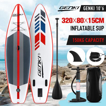 GENKI Inflatable Surfboard 2 in1 SUP Stand Up Paddle Board Kayak Red   Crazy Sales