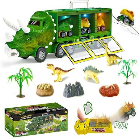 Dinosaur Toys for 1-6 Year Old Boys, Kids Toys Pull Back Dinosaur Transport Truck with Sound and Music&Light Toy Cars - Crazy Sales