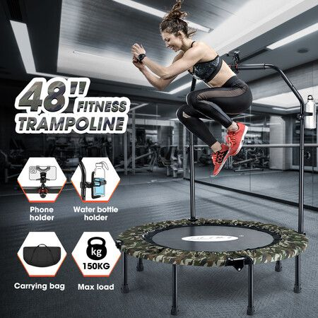 Genki Foldable Trampoline Mini Fitness Indoor Exercise Workout Rebounder for Adults Kids Camouflage 48 Inch   Crazy Sales