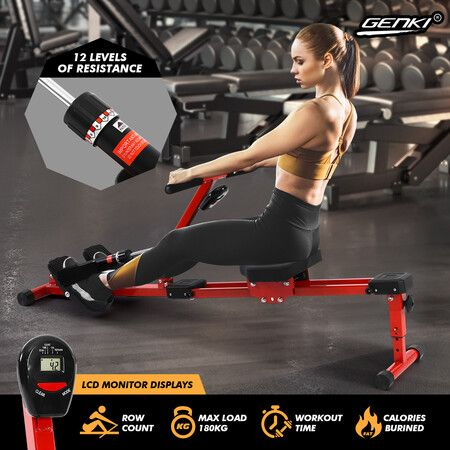 Genki Hydraulic Exercise Rowing Machine Indoor Home Rower Adjustable 12-Level Resistance LCD Monitor   Crazy Sales