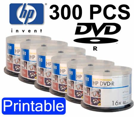 image relating to Hewlett Packard Printable Cards called Hewlett-Packard HP 300Computers DVD-R 16X Blank Inkjet Printable Media Discs