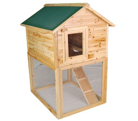 2 Level High Wood Rabbit Guinea Pig Hutch Pet House Cage