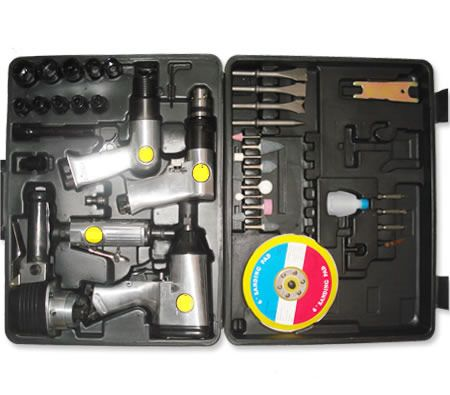 45 Pc. Piece Air Tool Kit in Carry Case - Drill / Wrench / Sander & More