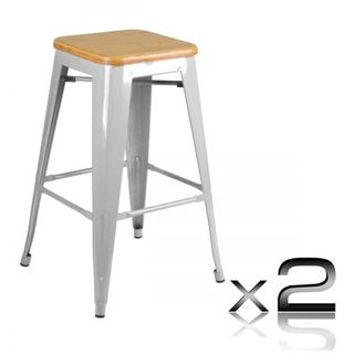 (OUT OF STOCK)Set of 2 Replica Tolix Kitchen Bar Stool Bamboo Seat 66cm - Metal  sc 1 st  Crazy Sales & Shop Big W Car Seat Covers for Bar Stools Online | Cheap Big W Car ... islam-shia.org