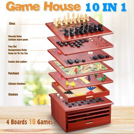 10 in 1 Wooden Board Games House - Brown