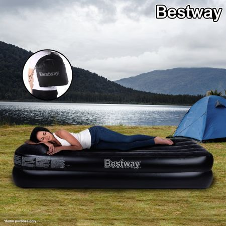 New Bestway Single Flocked Inflatable Comfort Quest Air Bed With Electric Pump