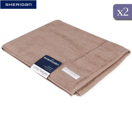 Sheridan Living Textures Collection 2 Piece 100% Cotton 1000gsm Bath Mat - Meteorite Brown