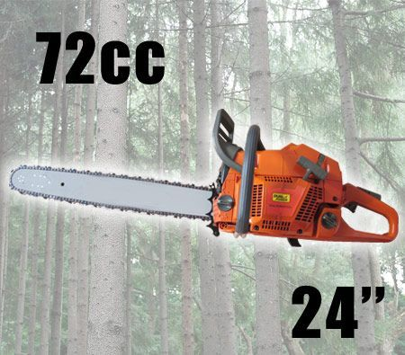 "72cc Gasoline Chainsaw 24"" inch Bar Max Power 13,500rpm"