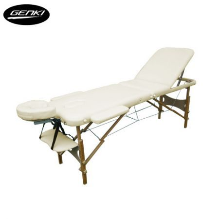 Genki Portable 3-Section Massage Table Chair Bed Foldable with Carry Bag - High Density Foam - Cream