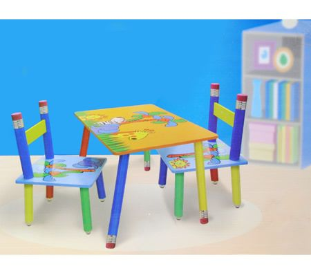 3 Pc. Kids Activity Table Set with Colourful Jungle Animal Prints & Matching Chairs