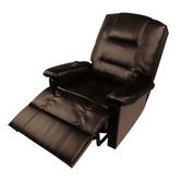 Comfortable PU Leather Massage Lounge Chair Recliner with Remote Control - Dark   Brown
