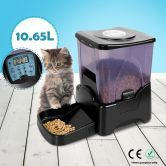 Automatic Pet Feeder with Recordable Message and Built-In Microphone - Black