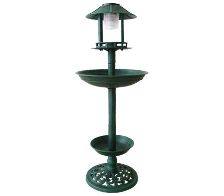 Garden Bird Feeder & Bird Bath with Solar Light / Flower Planter - 96cm