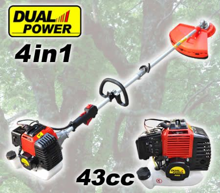 4-in-1 43cc Multi-Function Hedge Trimmer Pole Chainsaw Metal Blade Brush Cutter and Whipper Snipper