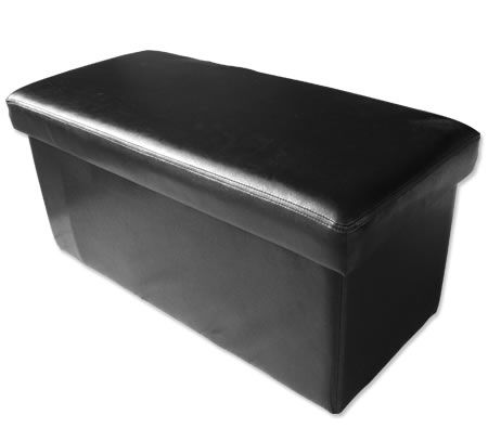 PU Leather Look Double Sized Storage Ottoman - Black