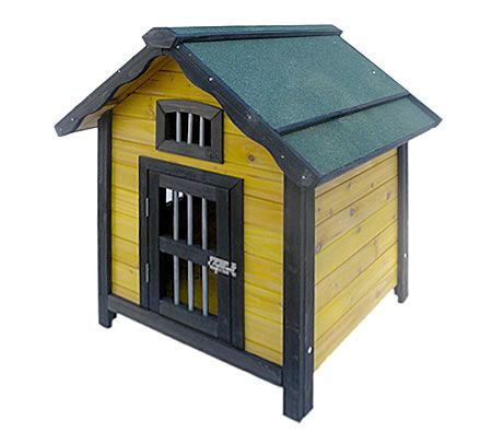 Wooden dog house varnished design for Indoor outdoor dog kennel design