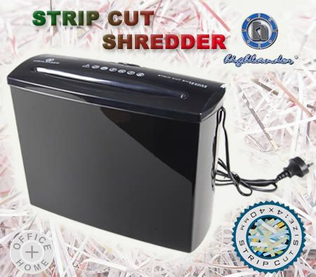 Highlander Strip Cut Paper Shredder + 7 Litre Basket