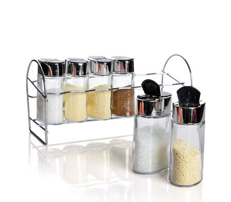 6 x Glass Containers Canisters Kitchen Storage with Stainless Steel Holder Tray Rack