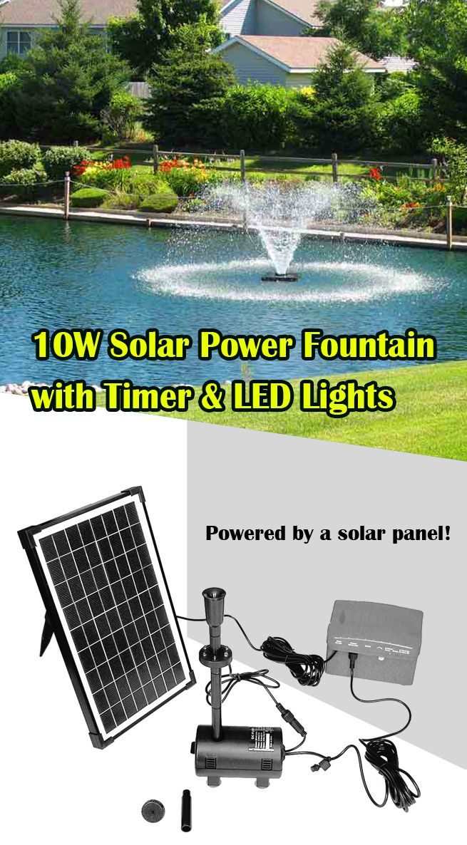 10w solar power fountain pond pool water feature pump kit. Black Bedroom Furniture Sets. Home Design Ideas