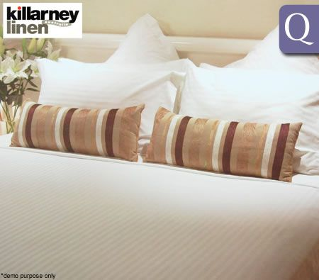 Killarney Linen Regal Stripe Queen Size Bed Quilt Cover Set