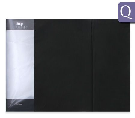The Big Sleep Luxury Queen Bed Size Fitted & Flat Sheet / Pillowcase Set - Black 75gsm Microfibre