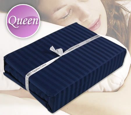Luxury Queen Bed Size Fitted & Flat Sheet / Pillowcase Set - Navy Stripes 375TC Sateen 100% Egyptian Cotton