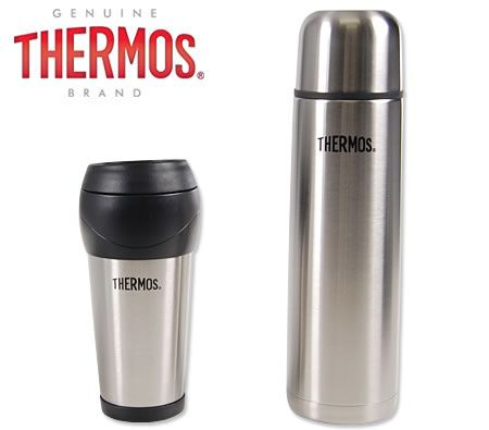 Thermos 1L Stainless Steel Slimline Vacuum Flask + 450ml Travel Tumbler Set