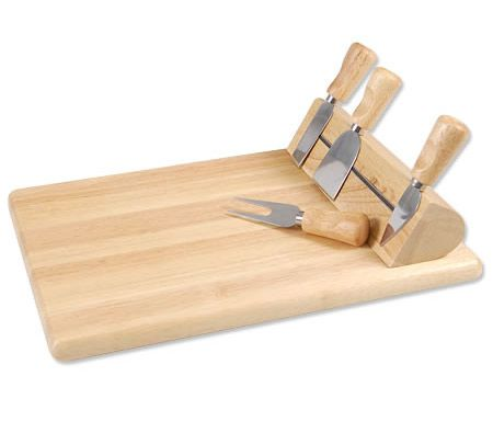Five Piece Cheese Cutting Board Set With Magnetic Knife