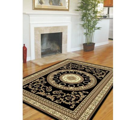 Traditional Rug with Medallion Black 230x160cm