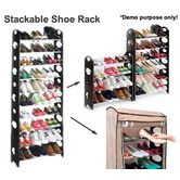 30 Pair Shoe Stackable 10-Tier Storage Rack with Non-Woven Cover - 9021-10W