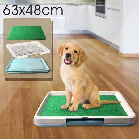 Pet Toilet Pad Indoor Dog Grass Restroom - Large - Light Blue Tray