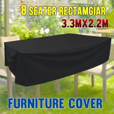 Strong Outdoor Rectangular PVC Coated Polyester 8 Seater Furniture Cover - 3.3m x 2.2m x 0.9m
