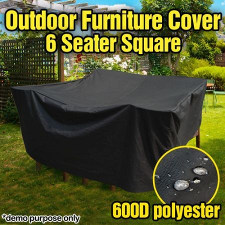 Strong Outdoor Square PVC Coated Polyester 6 Seater Furniture Cover - 2.5m x 2.5m x 0.9m