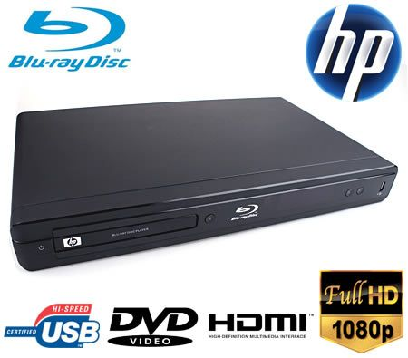 HP Hewlett Packard Blu-Ray DVD Disc Player Full HD 1080p Full Illumination HDMI