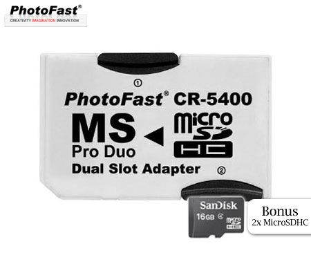 FREE SHIPPING! Photo Fast Memory Stick Pro Duo CD-5400 Dual Slot Adapter with 2 Bonus SanDisk 16GB MicroSD Card