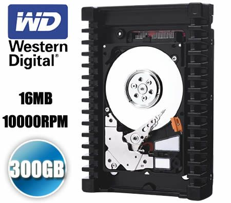 "Western Digital 3.5"" 300GB 16MB 10000 RPM SATA 2 3Gb/s WD VelociRaptor Hard Drive Backplane-Ready - WD3000HLFS"