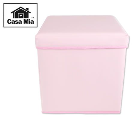 Casa Mia Children's Coloured Ottomans Square Foldable Storage Box & Stool - Pastel Pink