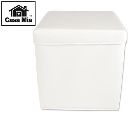 Casa Mia Children's Coloured Ottomans Square Storage Box & Stool - Cream White
