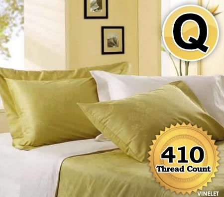 Horgen Queen Size Bed Quilt Cover Fitted Sheet & 4 Pillowcase Set Pack 100% Combed Cotton Sateen 410 Thread Count - Vine Green and White