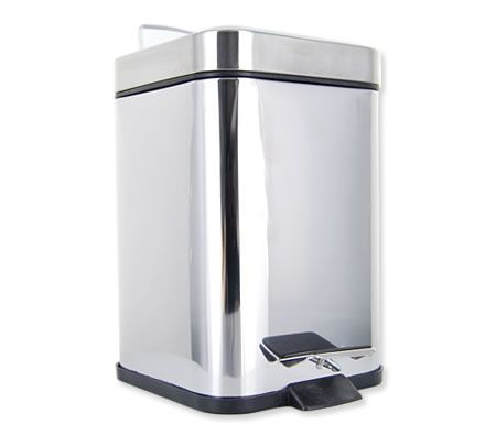 Modern Square Rubbish Bin with Stainless Steel Shiny Finish and Flip-Top Foot Pedal Mechanism - 12 Litres