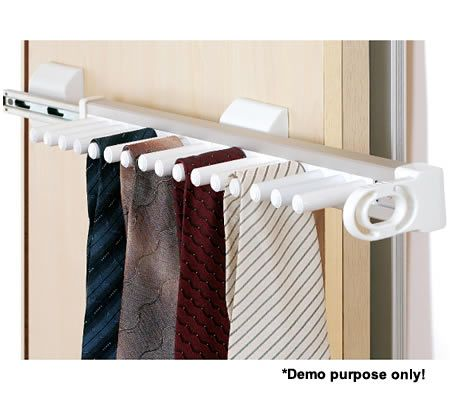 Slide-Out 16 Tie Rack Storage Solution - Suitable for Cabinets with Widths of 10cm