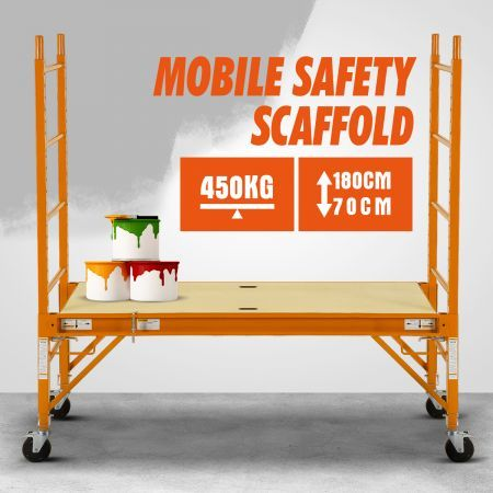 Safety Scaffold / High Ladder / Work Platform on Caster Wheel - 450KG Weight Capacity
