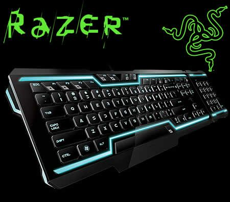 Razer Tron Legacy Fully Illuminated Gaming Keyboard, Rez & Derez Light and Sound Effects, Detachable Modular Keypad Attaches on Either Side, Flat Keys