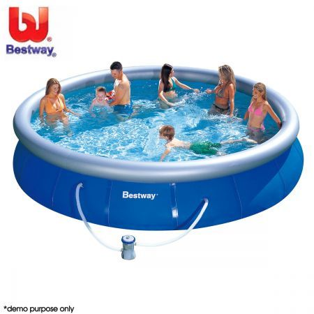 Bestway fast set jumbo inflatable outdoor pool with filter for 7in1 set garten pool 457 x 91 cm