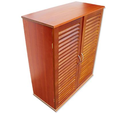 21 Pair Timber Shoe Storage Cabinet With 7 Racks   Solid Pine Wood U0026 MDF  Construction   Cherry Wood Colour
